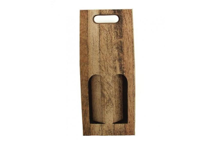 Dárkový karton 2 lahve/ dekor dřevo obrázek
